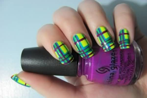 Neon Yellow Nails With Purple And Blue Plaid Nail Art