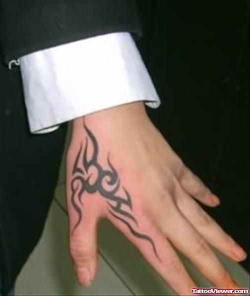 22b4b1069 Nice Black Tribal Hand Tattoo For Men