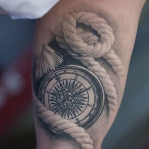 nice compass and rope tattoo on bicep. Black Bedroom Furniture Sets. Home Design Ideas