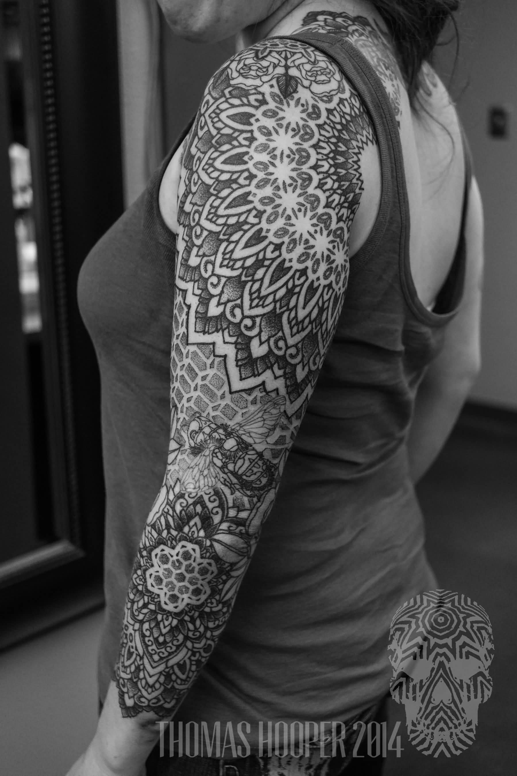 bb468d433b3a0 Nice Dotwork Mandala Tattoo On Left Full Sleeve