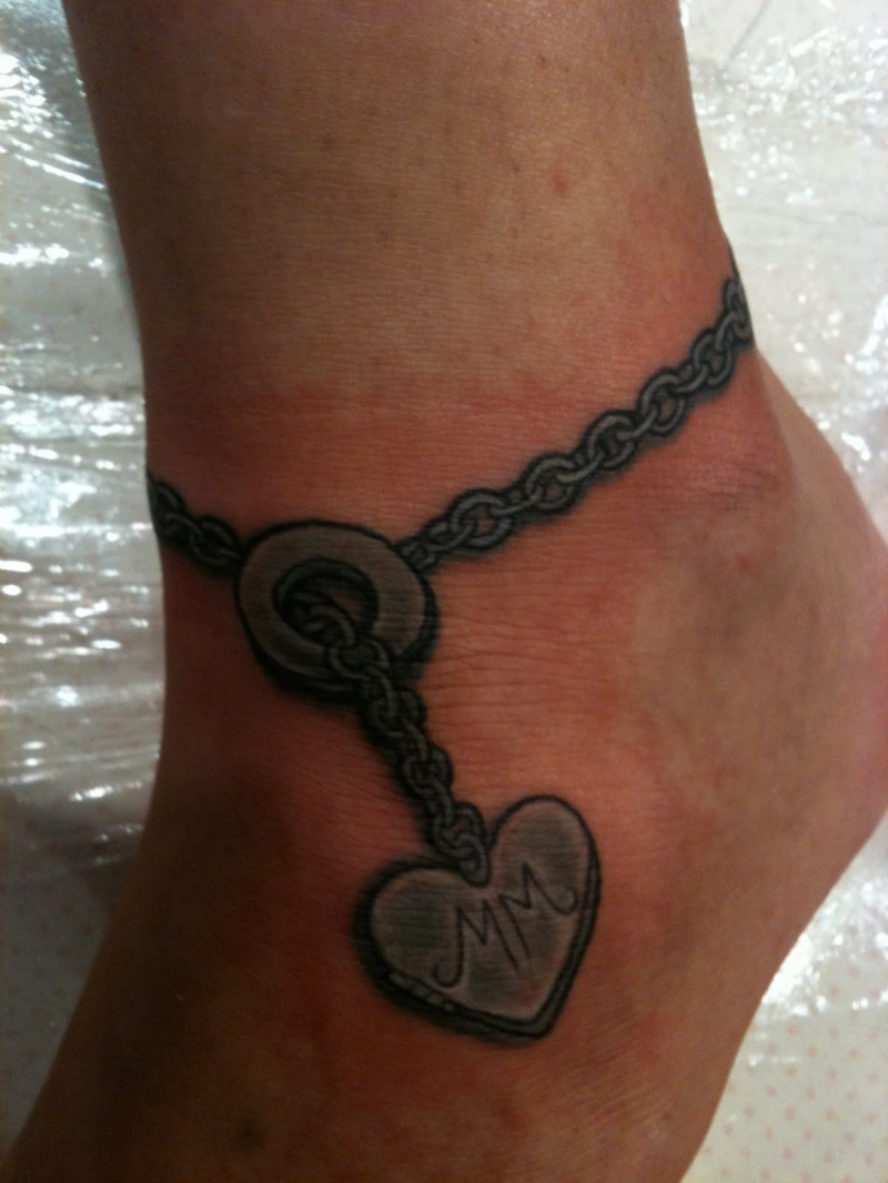 Nice Grey Heart Ankle Bracelet Tattoo