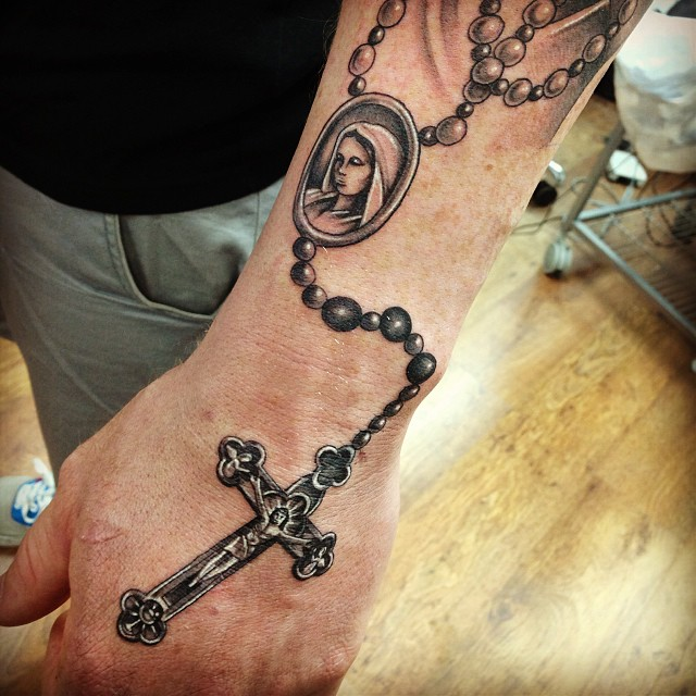 18 wonderful rosary tattoos on hand for Rosary cross tattoo