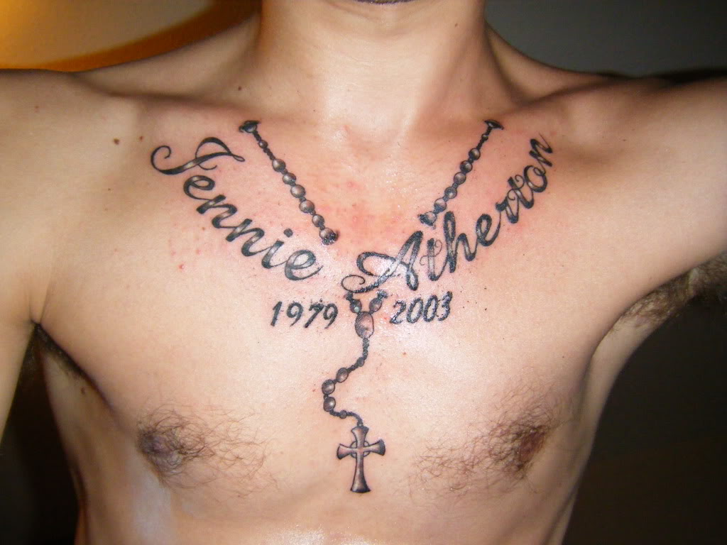 Nice name tattoo designs - Nice Rosary Memorial Tattoo On Man Chest