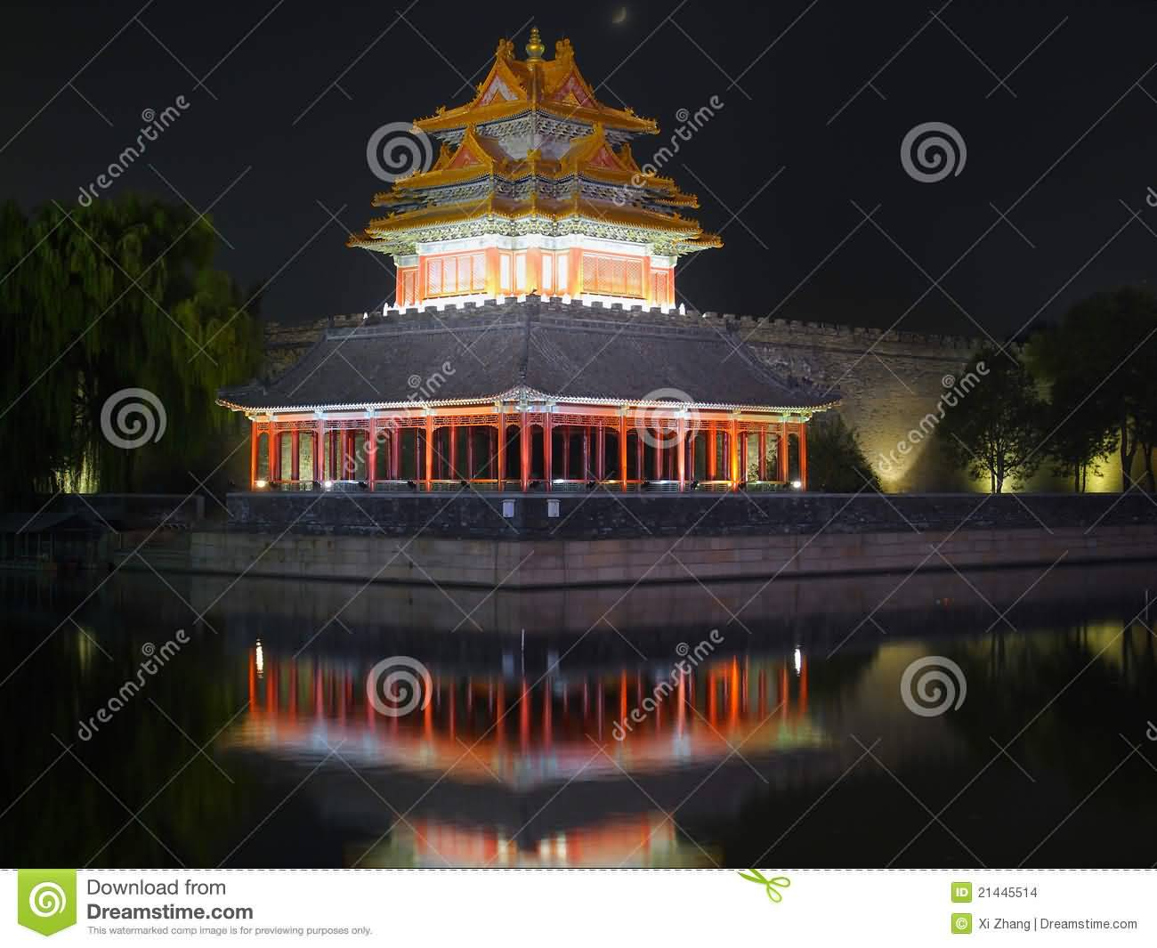 Night View Of Forbidden City In Beijing China