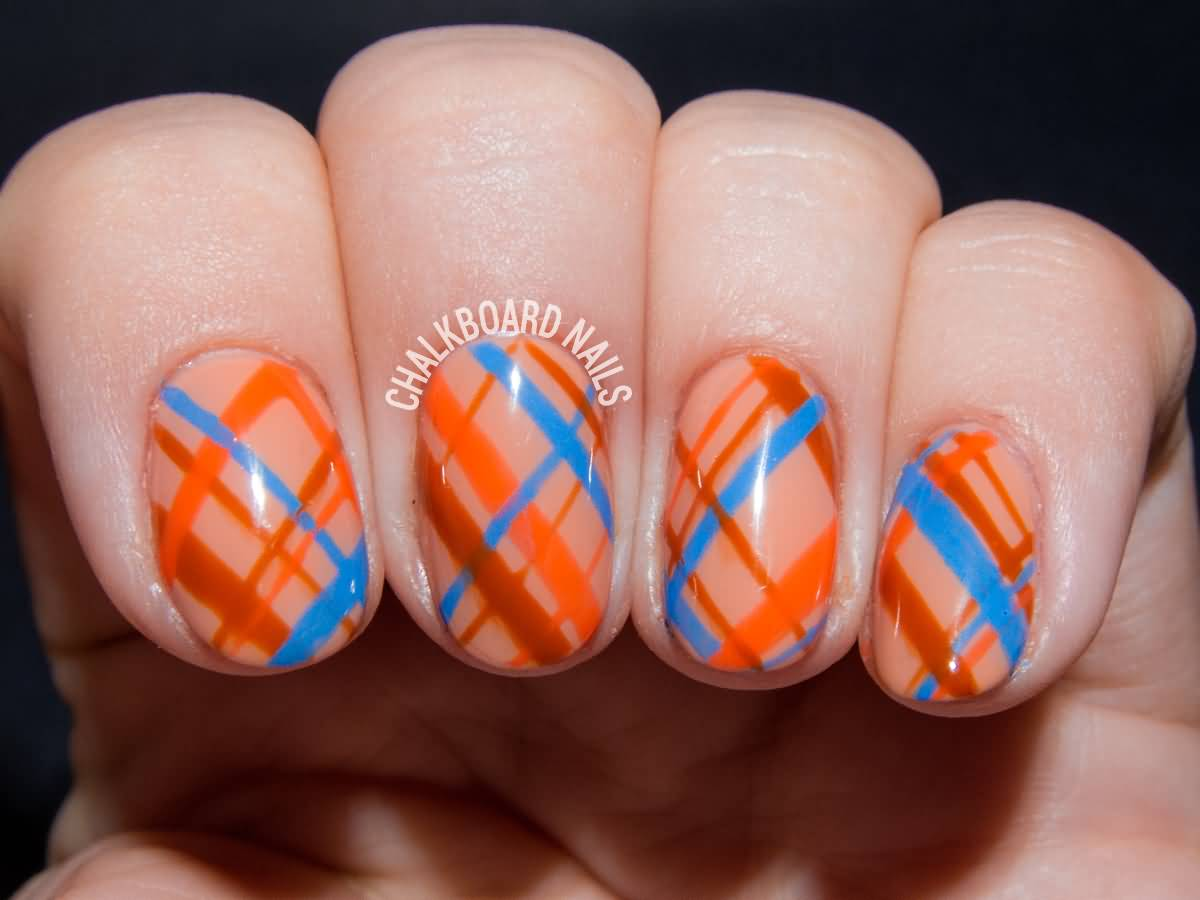 Orange Blue And Brown Plaid Print Nail Art