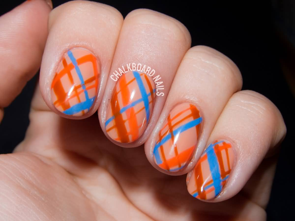 Orange Brown And Blue Plaid Design Nail Art