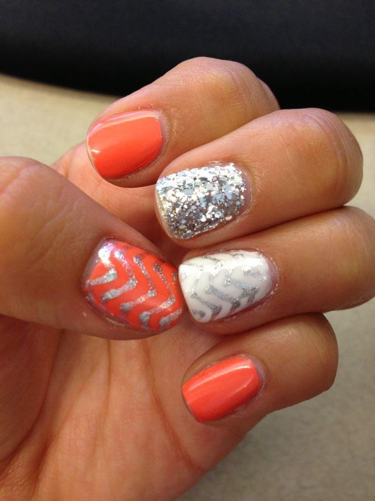 Orange gel and silver zig zag design nail art prinsesfo Gallery