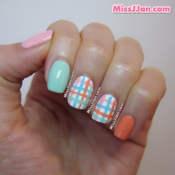 Orange Pink And Blue Plaid Nail Art