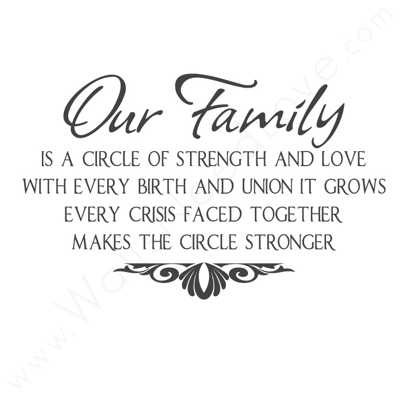 Awesome Our Family Is A Circle Of Strength And Love With Every Birth And Every  Union The