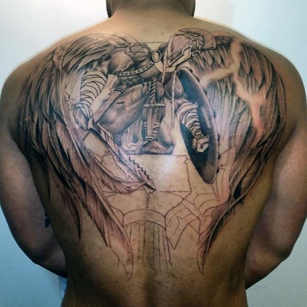 24 awesome angel tattoos on back for Warrior bible verse tattoos
