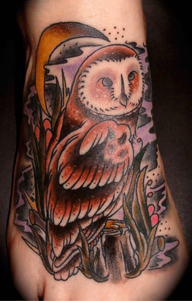 60 owl tattoos ideas for foot for Traditional moon tattoo