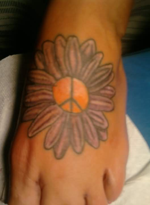 peace symbol in daisy flower tattoo on left foot. Black Bedroom Furniture Sets. Home Design Ideas
