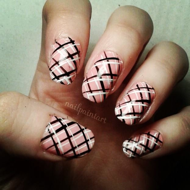 Peach Plaid Design Nail Art