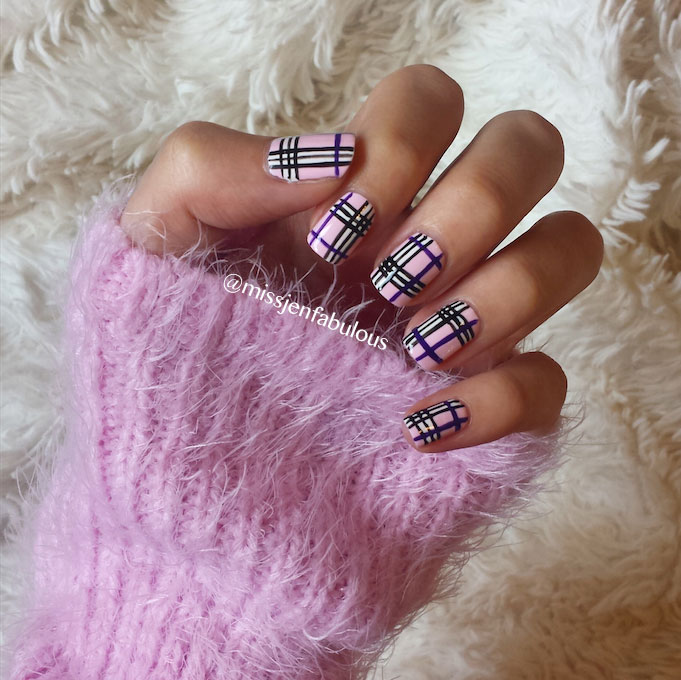 Pink And Black Plaid Design Nail Art