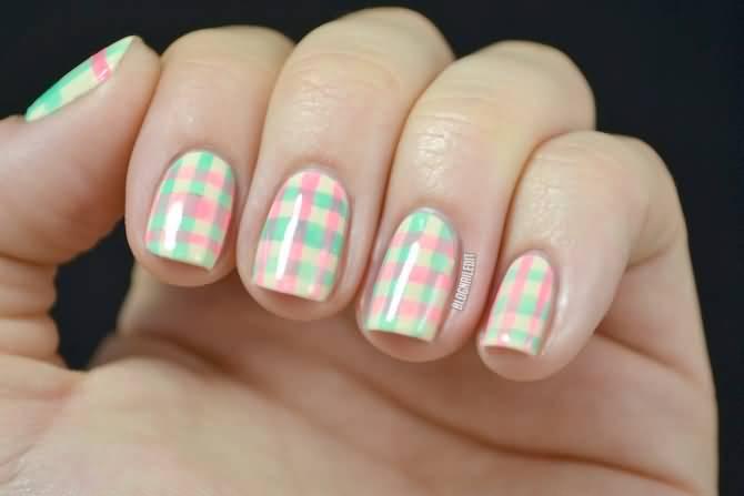 Pink And Green Plaid Nail Art