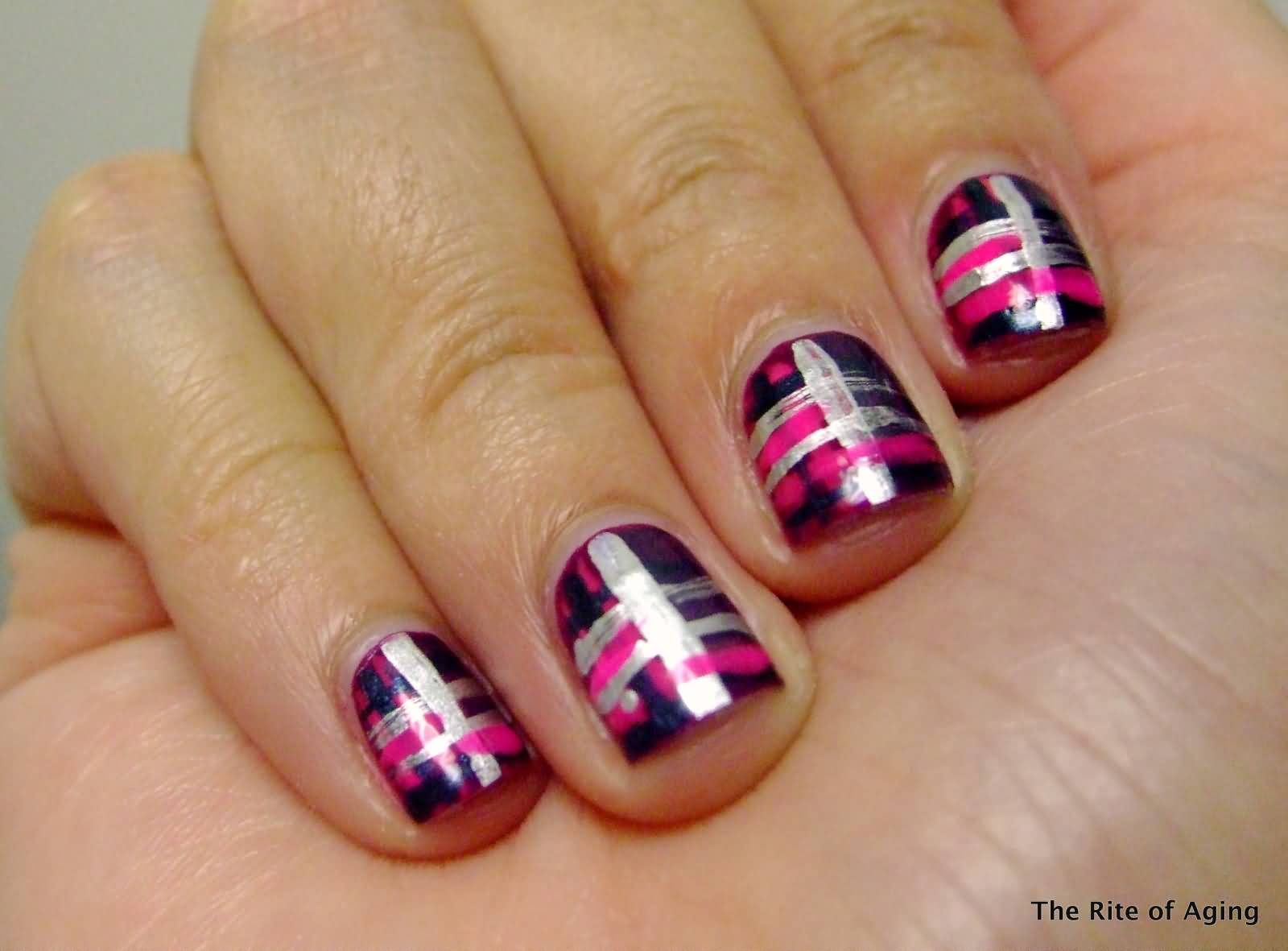 Pink And Silver Plaid Print Nail Design