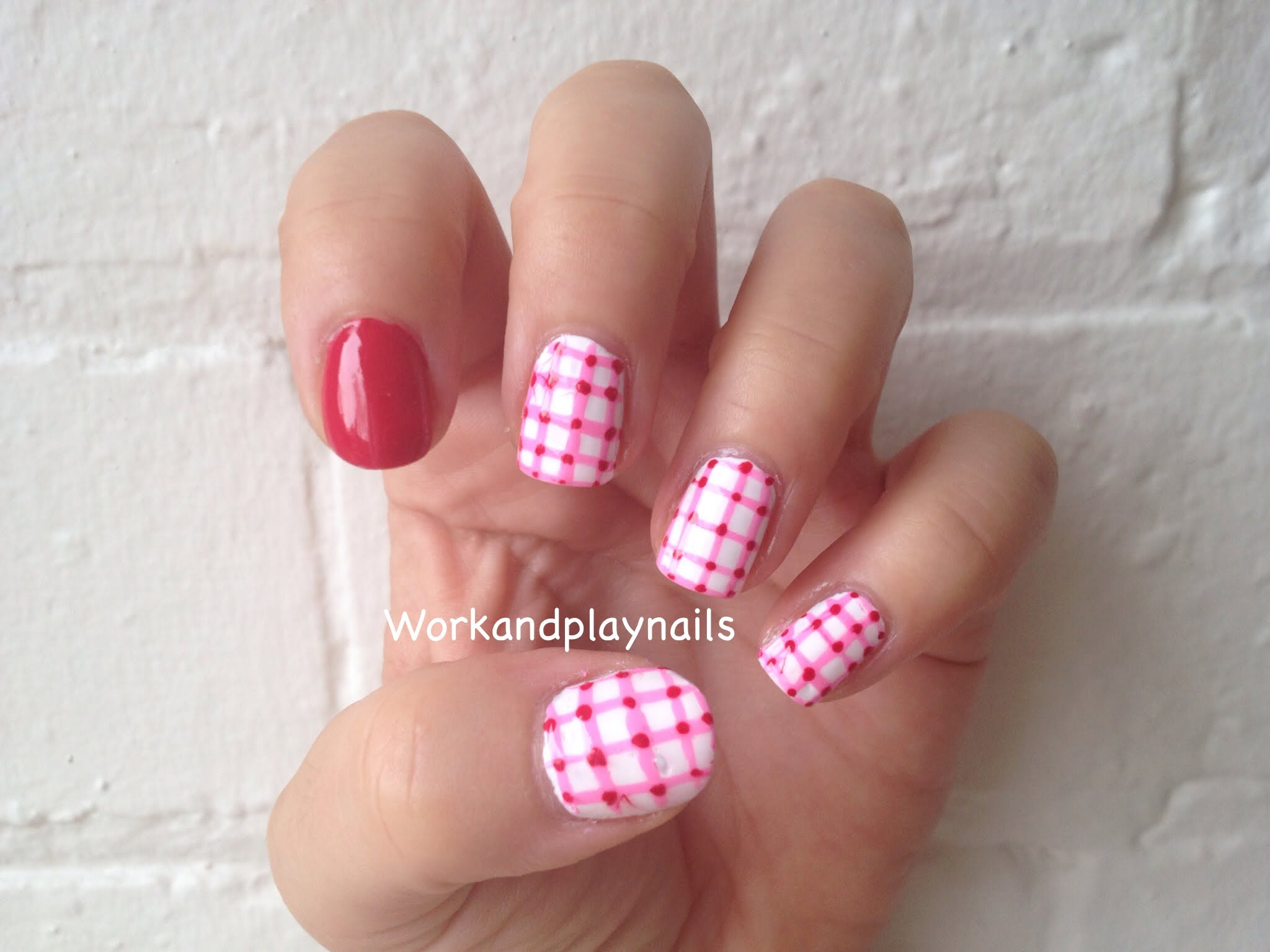 Pink And White Beautiful Gingham Nail Art With Tutorial Video