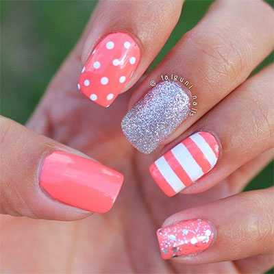 Pink and white gel nail art prinsesfo Images