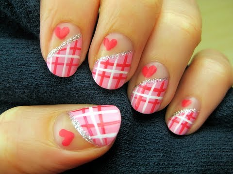 Pink And White Plaid Nail Art With Hearts
