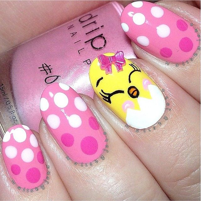 Pink And White Polka Dots Easter Chick Nail Art Design
