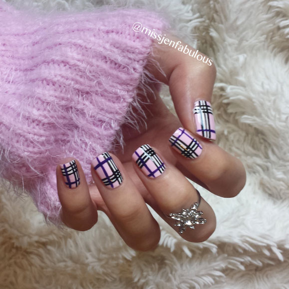 Pink Base Nails With Purple And Black Plaid Print Nail Art