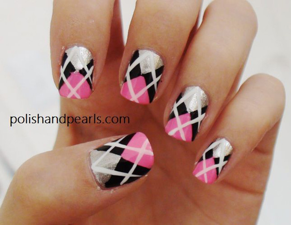 Pink Black And Silver With White Plaid Design Nail Art