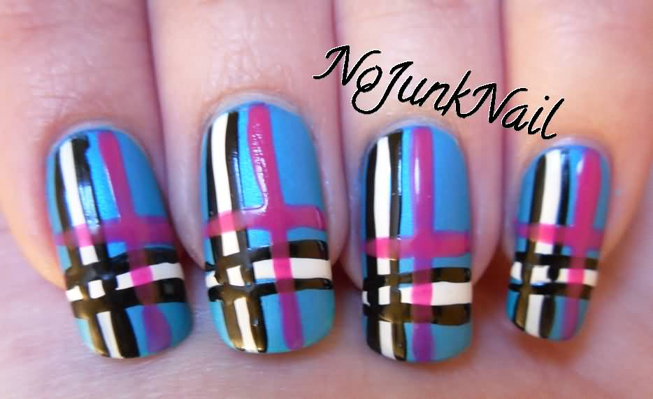 Pink Brown And White Plaid Nail Art
