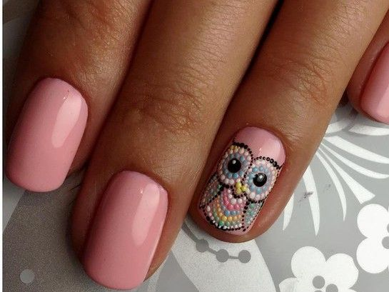 - Pink Gel With Owl Nail Art Design
