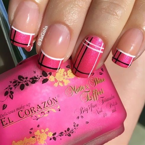 Pink Nails With Black And White Plaid Design Nail Art