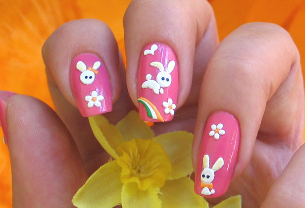 Pink Nails With White Easter Bunny And Flower Nail Art