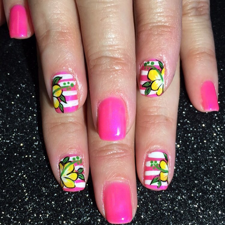 Nail Art Designs Ideas the charming easy nail art designs rainbow photograph Pink Stripes And Yellow Spring Flowers Nail Art