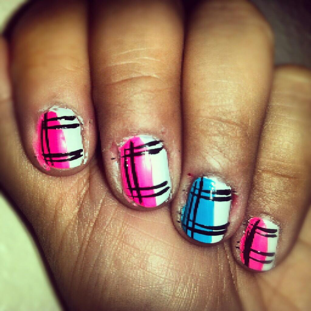 Pink White And Blue Plaid Nail Art For Short Nails