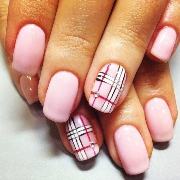 Plaid Design Nail Art With Rhinestones Design