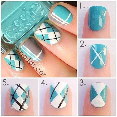 Plaid Nail Art Design Tutorial