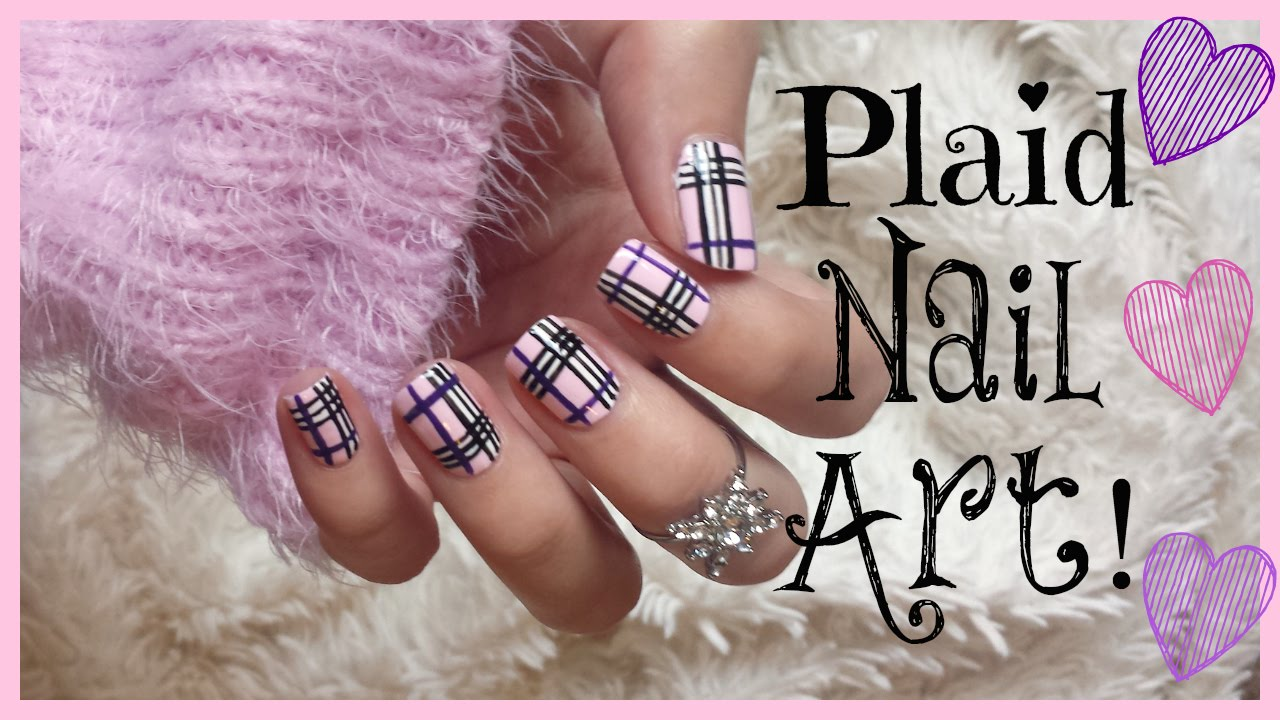 Plaid nail art with tutorial video prinsesfo Choice Image