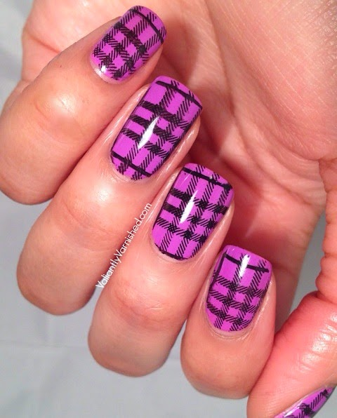 Plaid Stamping Nail Art
