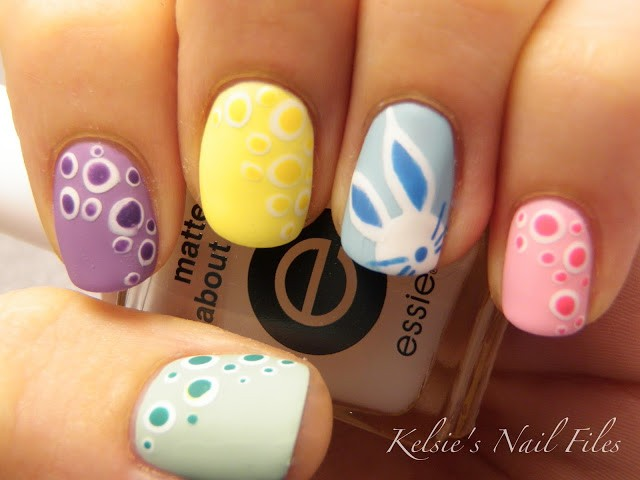 - Polka Dots And Easter Bunny Nail Art
