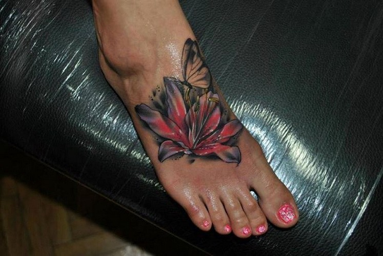 Erfly Flower Foot Tattoo Designs Flowers Healthy