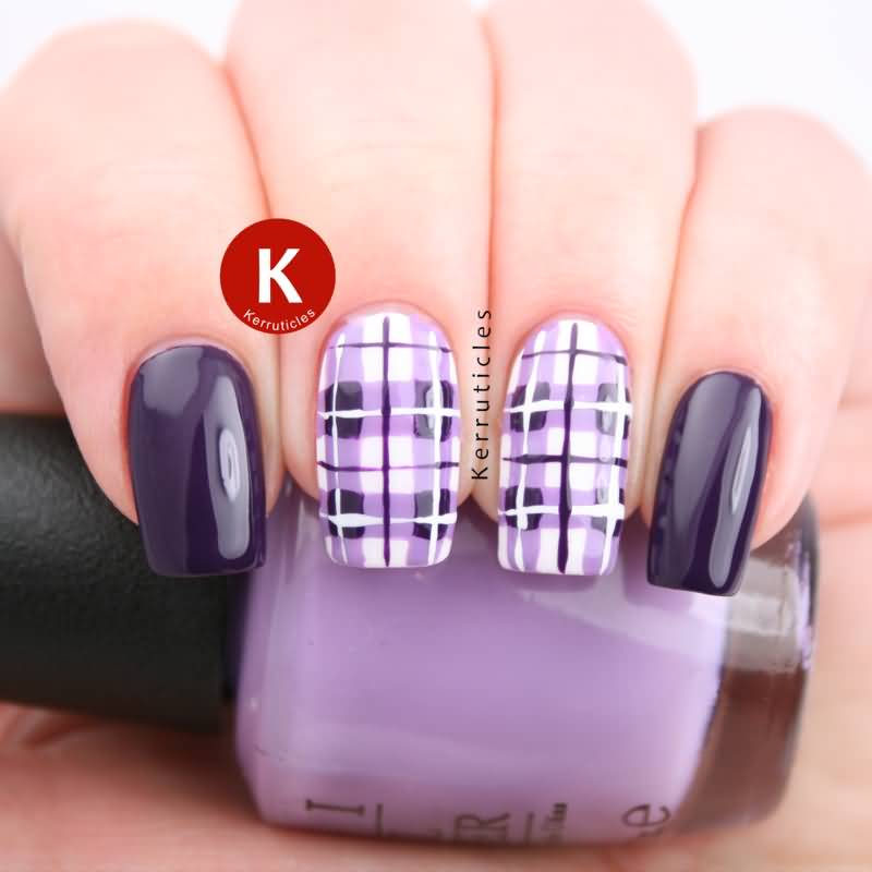 Purple And Lilac Plaid Print Nail Art
