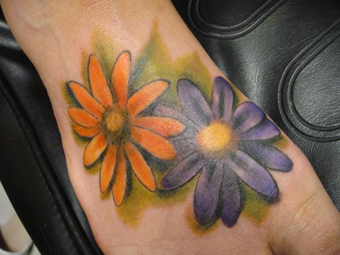 Purple Daisy Tattoo: 60+ Awesome Daisy Foot Tattoos