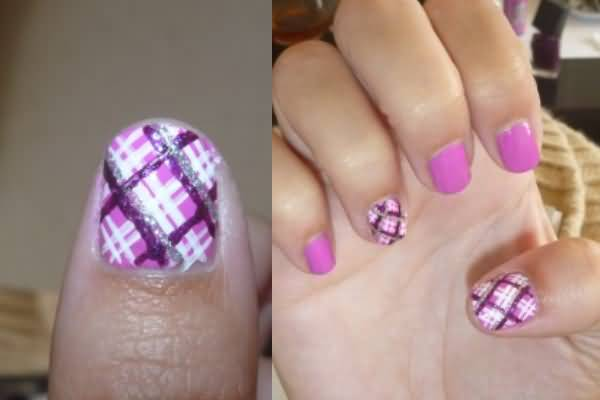 Purple And Silver Glitter Plaid Nail Art
