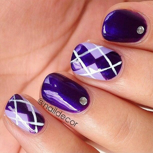 Purple And White Plaid Design Nail Art