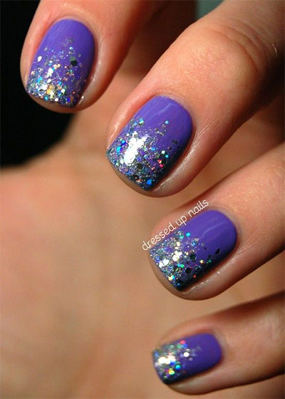 Purple Gel And Glitter Nail Art - 70 Most Beautiful Gel Nail Art Ideas