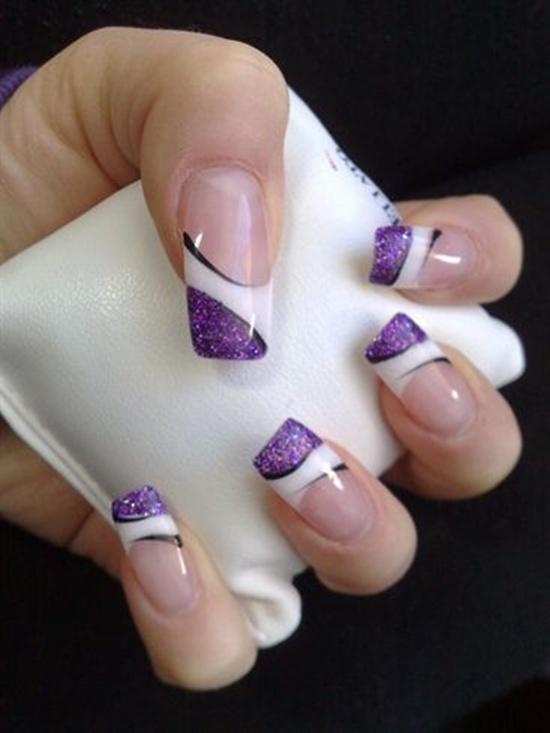 Purple glitter gel nail art prinsesfo Gallery