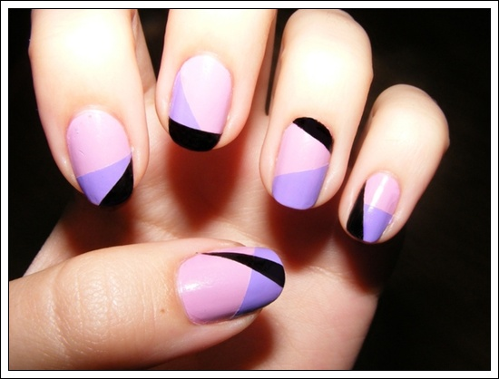 - Purple Pink And Black Spring Nail Art Design