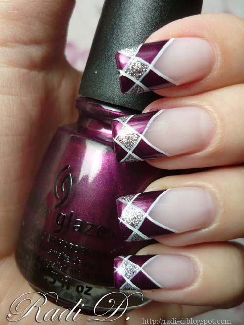 Purple Plaid French Tip Nail Art