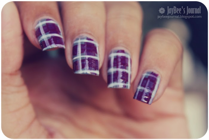 Purple Plaid Nail Art Design