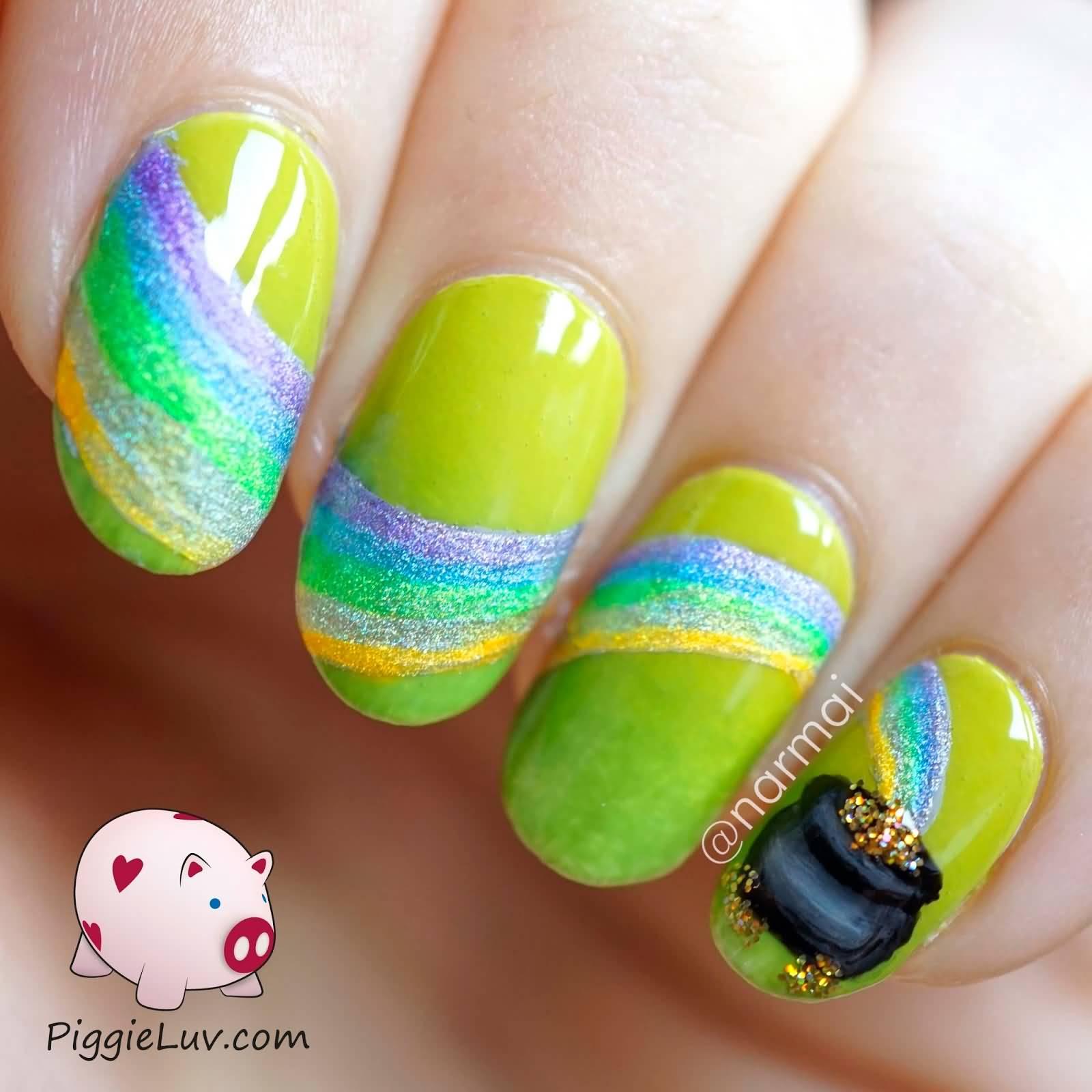 Rainbow Design And Pot Of Gold Saint Patrick\'s Day Nail Art