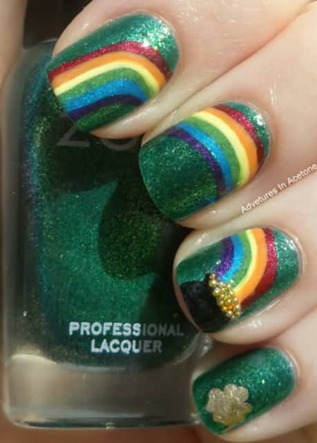 Rainbow With Pot Of Gold And Shamrock Leaf Design Saint Patricks