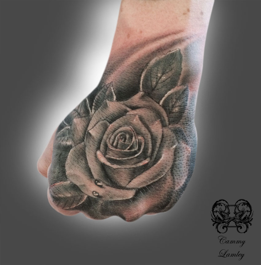 66045a564 Realistic Black Rose Hand Tattoo For Men